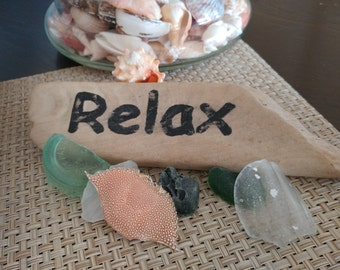 "Hand crafted & painted "" RELAX"" Weathered Shabby Chic Distressed Driftwood Sign Beach Cottage Coastal Greenwich Treasures"