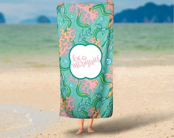 Personalized Micro Fiber Velour Beach Towels- Be a Mermaid Custom Beach Towel with Monogram, Camp Towel, Bachelorette Favors