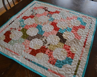 Quilted Table Runner, Bow Tie Quilt Table Centerpiece, Country Home Decor