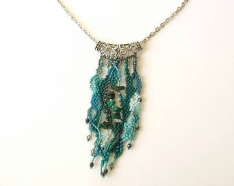 Teal Freeform Peyote Necklace, Unique Beadweaving Necklace, OOAK Beaded jewelry, teal bohemian necklace, malachite necklace, sea blue green