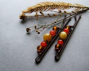 Orange Bobby Pins, Cute Boho Hair Pins, Orange Retro Bobby Pins set of 2