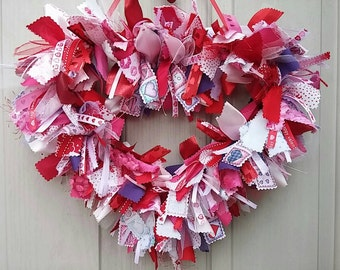 Valentines Wreath, Valentine Heart, Pink Wreath, Red Decor, Wreath, Ribbon Wreath, Bridal Heart Wreath, Bachelorette Party, Girls Room Decor