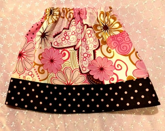 Girls twirl skirt - Elastic Waist - Butterflies - Pink and brown polka dots -  Pick your size 18 months through 10 years.