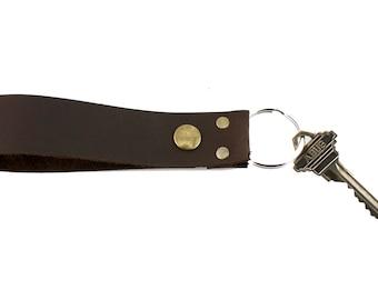 Brown Leather Key Ring, Fob Snap, Belt Loop, Pack Keychain, Wristlet