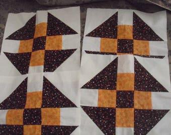 "Four Churndash Quilt Blocks / Orange Tonal and Brown Calico / 9-1/2"" Quilt Blocks / Orphan Quilt Blocks / Brown, Orange & White Blocks"