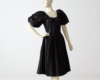 SALE vintage 60s party dress, black taffeta dress with puff sleeve
