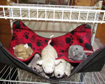 """EX-Large (17""""x19"""") Double Layered Hammock, Guinea Pigs, Ferrets, Rabbits, Chinchillas, Cats, Dogs, Red/Black Pawprint"""