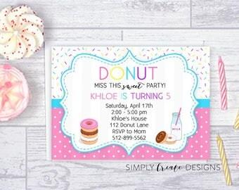 SALE Donut Invitation Digital Donut Invite 5x7 Jpeg DIGITAL File