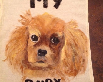 Your Best Friend hand painted on a kitchen towel.