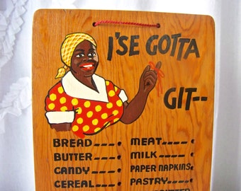 Vintage Wood Grocery List Black Americana 1930s Shopping List Peg Board