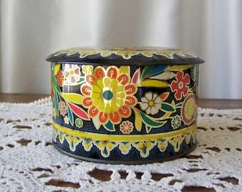 Vintage Daher Tin Bohemian Kitchen Tin Daher Tin Kitchen Decor Colorful Container Vintage 1970s