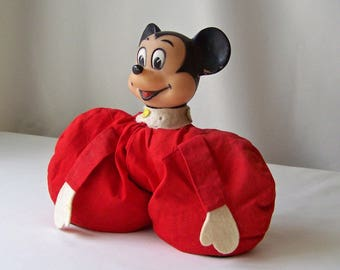 Vintage Mickey Bean Bag Toy Walt Disney Productions Mickey Red Bean Bag Toy Vintage 1980s