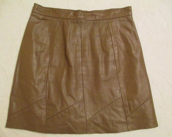 Vintage Leather Mini Skirt, Taupe Game Day Skirt Repurposed Leather