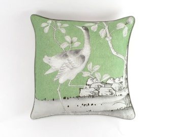 ON SALE Schumacher Mary McDonald Chinois Palais Pillows in Lettuce with Grey Welting (24 X 24 - both sides)