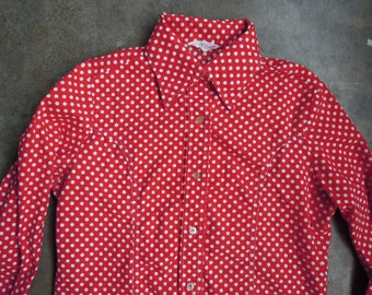 Vtg Cotton Red White Polka Dot Fitted Oxford Blouse 1970s 80s Small Medium