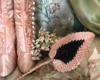 Vintage Hat Millinery Large Leaves Flower Glazed Straw Italy Pink  Black Shabby chic