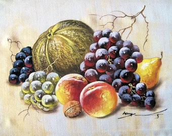 """Still Life Paintings of Fruit, Watercolor on Silk by the Artist, Kapil,Framed-7.5x9""""inches"""