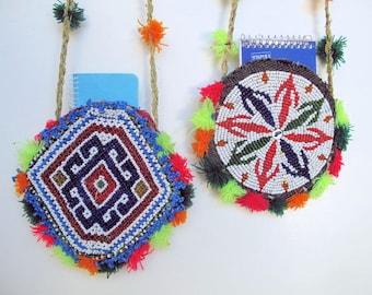 Tribal Shoulder Bag with Glass Beaded Flower Design from Afghanistan, Vintage