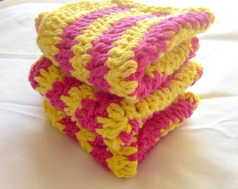 Crochet Dishcloths - 3 Ripple Cloths in Hot Pink and Yellow - All Cotton