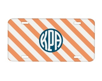 Metal License Plate Personalized Monogrammed: Diagonal Stripes