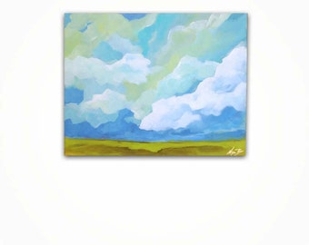 Abstract Prairie Landscape Painting, Acrylic Painting on Canvas, Cloud Painting, Greenery and Aqua