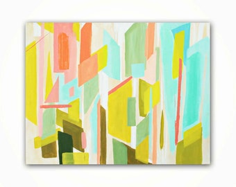 Vibrant Geometric Painting, Abstract Acrylic Painting, Greenery and Coral Painting on Canvas