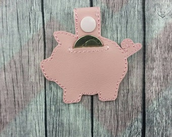 pink piggy quarter holder~piggy bank~Aldi key chain~snap tab~key fob~grocery store coin keeper~purse fob~zipper pull