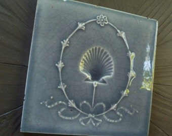 Art Nouveau Tile. Gray, Scallop Shell, Flowers, Bow, Raised. Vintage Antique 1900s 1910s. Victorian Pottery Ceramic Tile. Trent, Trenton NJ.