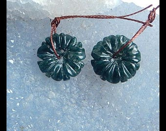 Carved Moss Agate Flower Cabochon Pair,16x4mm,3g