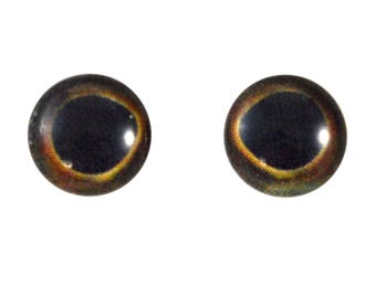 10mm Fish Glass Eyes - Round Yellowfin Tuna Eyes - Pair of Glass Eyes for Doll, Sculpture, Taxidermy or Jewelry Making - Set of 2