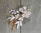 Bridal Gold Champagne Pearl Opal Boho Hair Comb. Leaf Vine Flower Swarovski Crystal Headpiece. Blush Wedding Rhinestone Hair Pin Tiara Crown