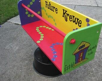 MaRDI GRaS LaDDER SEAT- Gris Gris Art- Parade- Baby Shower Gift- Custom New Orleans- Crawfish Future Krewe Beads Streetcar Shotgun House