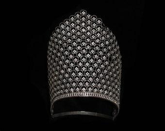 VERY RARE!! Original 1920s Headpiece / 20s Showgirl Super TALL Rhinestone Tiara Headdress / 1910s /  Kokoshnik
