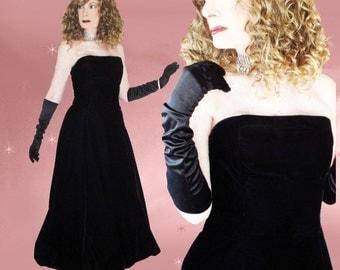Black Strapless Gown Womens, Vintage Velvet Evening Gown, 1980s Black Ball Gown, Scott McClintock, Vintage 80s Full Length Strapless Formal