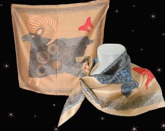Star Sign Aries Rain Scarf is a Vintage Totes Scarf or Horoscope Scarf from the 70s, an Aries Scarf!