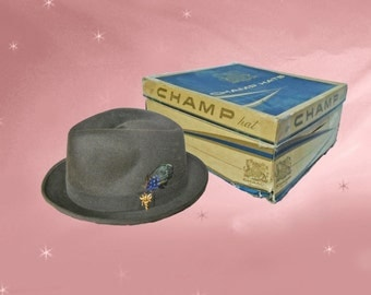 Mens Felt Fedora is a 50s Vintage Fedora with Hat Box, a Stingy Brim Fedora Hat by Champ, IT IS UNUSED and a Gift for Dad 2017