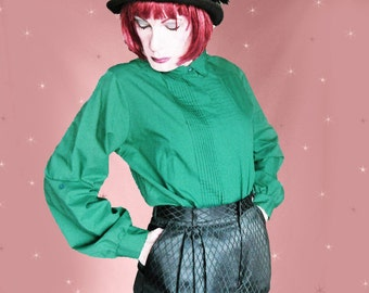 Plus Size Vintage Green Blouse - Women's Long Sleeve Shirt - 80s Vintage Judy Bond Blouse - Tuxedo Style Shirt - 45 Inch Bust - Cotton Poly