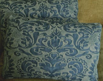 Mariano Fortuny Cotton Fabric Custom Designer Throw Pillows Corone Blue Set of 2 New