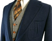 Vintage 1970s Ballantyne  Scotland Two Piece Navy Sport Coat and Mod Houndstooth Check Vest. Pleated Patch Pockets. Action Back.  43 44