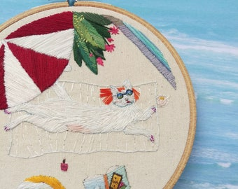"ON SALE Victoria's Week Off. Cat Embroidery. Cat Lady. Hand Embroidered Hoop Art. 6"" Embroidery Hoop. Modern Embroidery Stitched Cat Picture"