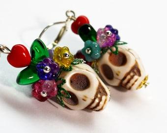 Sugar Skull Earrings, Frida Earrings, Catrina Earrings, Day of the Dead Earrings, Christmas Earrings, Flower Skull Earrings, Skull Earrings