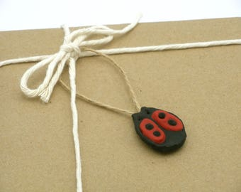 Lady Bug Gift Wrap Add On, Unique Handmade Mini Black and Red Lady Bug Ornament, Lady Bug Gift Tag, Nature Lover