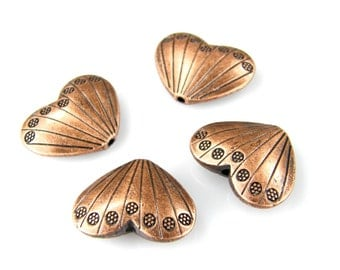 Copper Heart Beads, Antiqued Copper Hearts, Valentines Hearts, Textured Copper Heart Beads, (4) Copper B0001