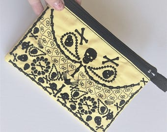 Skulls little Purse, Pouch, Envelope ITH, Pocket, ITH In The Hoop Machine Embroidery designs In-The-Hoop 5x7 one size