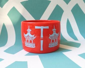 Pagoda Bangle Bracelet with Monogram