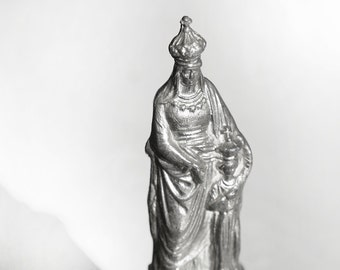 Antique French Holy Mary Statue and Jesus on Ornate Plinth decorated on all 4 sides, bronze color