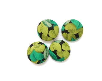4 Large Tropical Green Fabric Covered Buttons, Black, Leaves, 27mm