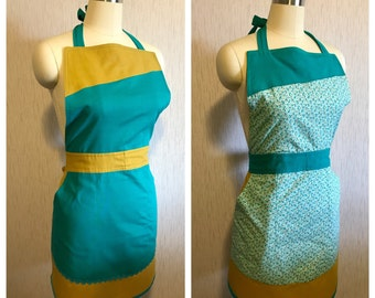 Fully Reversible Apron in Jewel Tone Mustard, Aqua, and Floral