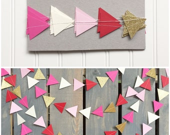 Pink, Red, & Gold Modern Triangle Geometric Valentine's Day Sewn Paper Garland - Party Banner, Photo Backdrop, etc.