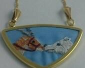 """Princess Mononoke, Yakul embroidered pendant with 32"""" gold-tone chain"""